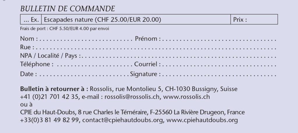 """Bulletin de commande pour le livre """"Escapades hivernales"""" de Jean-Luc Girod"""